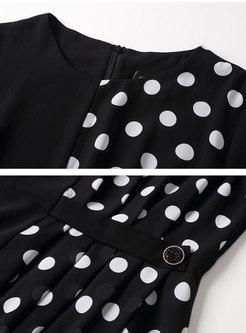 Black Polka Dot Patchwork Knee-length Dress