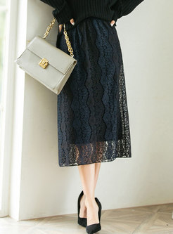 High Waisted Lace A Line Knitted Midi Skirt