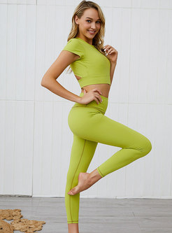 Solid Color Backless Tight Sport Tracksuit