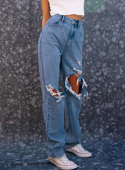 High Waisted Denim Straight Ripped Pants