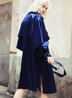 Lapel Asymmetric Double-breasted Trench Coat