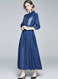 Turn Down Collar Belted Denim Maxi Dress