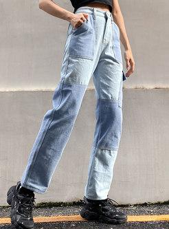 Color Block Denim Patchwork Straight Pants