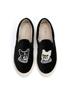Rounded Toe Animal Print Loafers