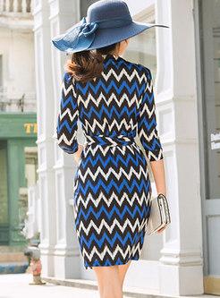 3/4 Sleeve V-neck Wave Stripe Skater Dress