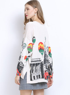 Plus Size Print Pullover Loose Sweater