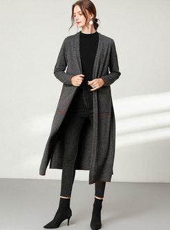 Long Sleeve V-neck Sweater Straight Coat