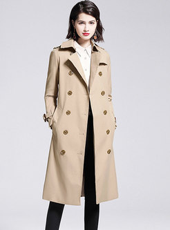 Double-breasted Long A Line Trench Coat