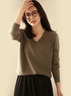 Solid Color V-neck Pullover Loose Sweater