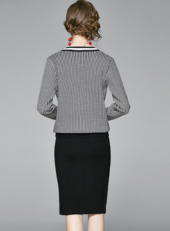 V-neck Plaid Bodycon Sweater Skirt Suits