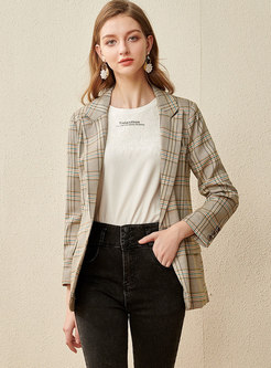 Notched Plaid Long Sleeve Buttoned Blazer