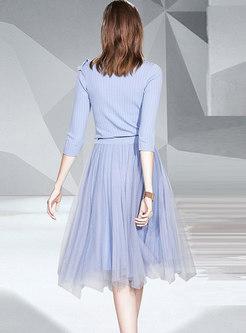 Ruffle Slim Sweater & Mesh A Line Skirt