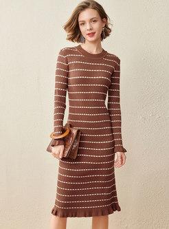 Long Sleeve Stripe Lettuce Knitted Sheath Dress