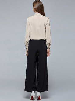Mock Neck Pullover Blouse & Wide Leg Pants