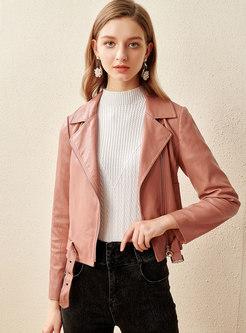 Long Sleeve Side Zipper PU Jacket