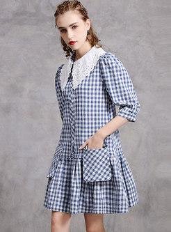 Plus Size Doll Collar Plaid Shift Dress