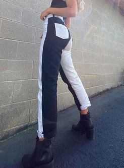 Color Block High Waisted Straight Pants