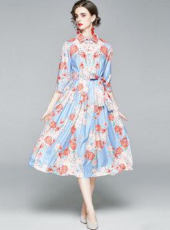 Long Sleeve Print High Waisted A Line Dress