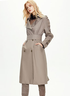 Lettuce Double-breasted Long Trench Coat