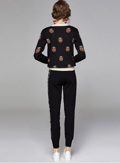 Color Block Pullover Embroidered Knitted Pant Suits