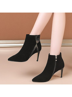 Pointed Toe Rhinestone High Heel Ankle Boots