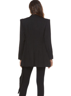 Notched Ruched Asymmetric Pure Color Blazer