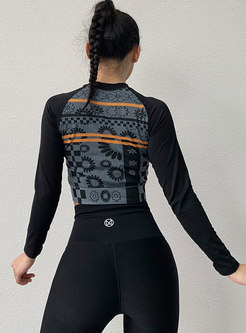 Print Long Sleeve Pullover Sport Top