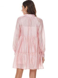Pink Mock Neck High Waisted Mini Dress