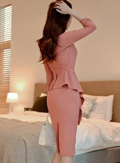 Square Neck Ruffle Bodycon Knee-length Dress