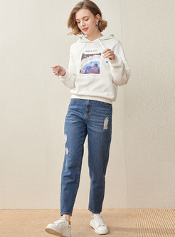 Casual Print Pullover Drawstring Hoodie