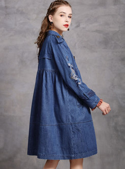Lapel Denim Embroidered Straight Trench Coat