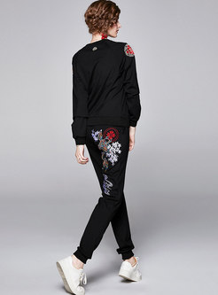 Casual Pullover Embroidered Two Piece Pants Suits