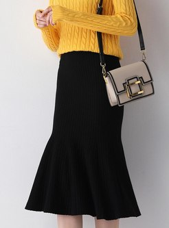 High Waisted Knitted Peplum Skirt