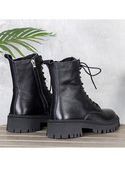 Black Rounded Toe Platform Short Boots