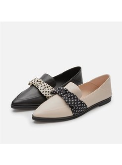 Retro Pointed Toe Low-fronted Ribbon Flats