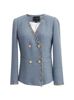 Tweed Plaid V-neck Long Sleeve Coat