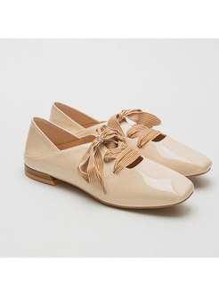 Square Toe Shoelace Flat Low-fronted Shoes