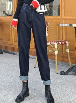 Deep Blue High Waisted Denim Harem Pants