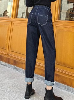 Deep Blue High Waisted Denim Harem Pants