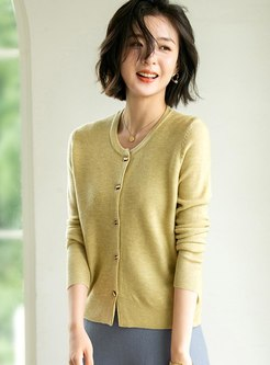 Crew Neck Single-breasted Casual Cardigan