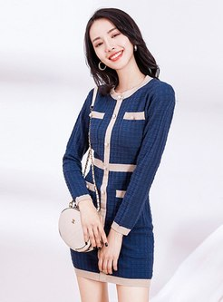 Color Block Patchwork Knitted Bodycon Dress