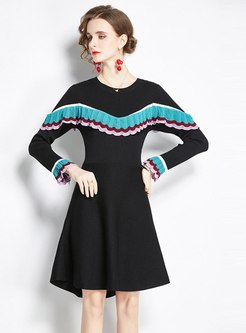 Long Sleeve Ruffle Patchwork Sweat Dress
