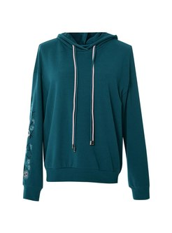 Embroidered Pullover Drawstring Hoodie