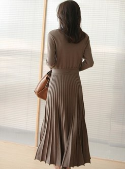 Solid Color A Line Pleated Sweater Dress
