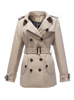 Notched Double-breasted Trench Coat