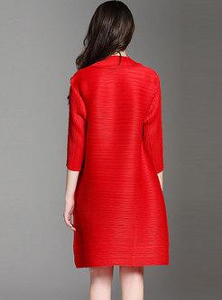 Plus Size Solid Color Split Pleated Shift Dress