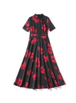 Mandarin Collar Print Big Hem Maxi Dresses