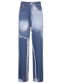 Color Block Patchwork Straight Fringed Jeans