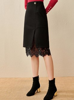 Lace Patchwork High Waisted Skirt