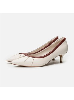 Color Block Pointed Toe Low-fronted Pumps